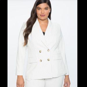 Eloquii double breasted pinstripe white blazer NWT